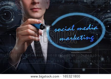 Business, Technology, Internet And Network Concept. Young Business Man Writing Word: Social Media Ma