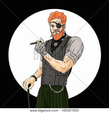 Illustration of the Irish who holds a cigar in hand