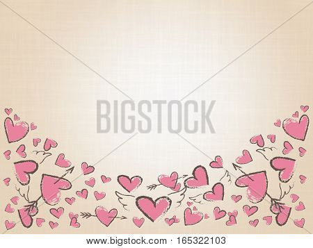 Beautiful love hearts on vintage background. Valentine Day background with pink hand drawn hearts. Doodle hearts, angel wings and arrows. Raster illustration.