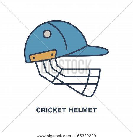 Cricket vector line icon. Helmet logo, equipment sign. Sport competition illustration.