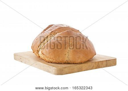 Homemade Golden Brown Rye Bread On Wooden Slicing Board