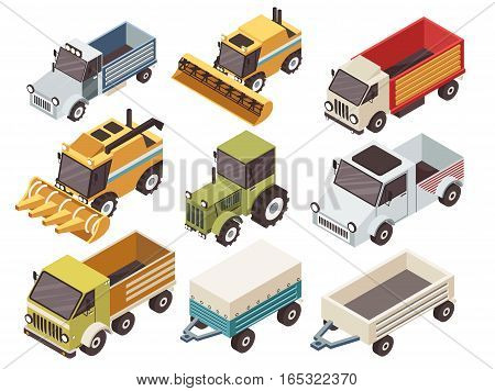 Farm vehicles isometric set with various type of trucks harvesters tractor and trailers isolated vector illustration