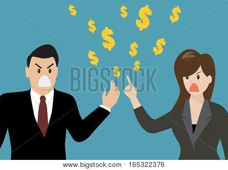 Business people having a quarrel about money. vector illustration