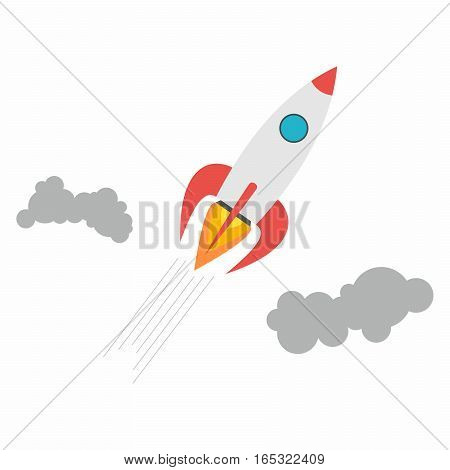 Start Up symbol. Space rocket vector design.