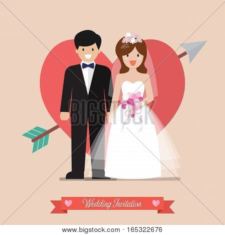 Newlyweds bride and groom wedding invitation. Vector illustration