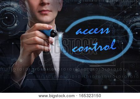 Business, Technology, Internet And Network Concept. Young Business Man Writing Word: Access Control