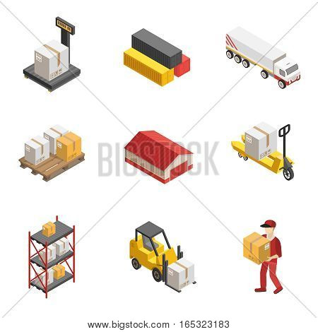 Stock logistics isometric icon set with loaders warehouses and vehicles for delivery of cargoes vector illustration