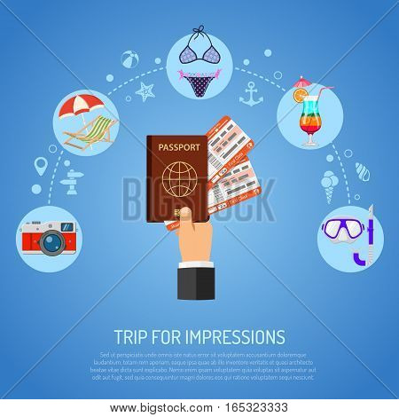 Vacation and Tourism Concept with Flat Icons deck chair, Cocktail and Hand with Passport and airplane tickets. vector illustration