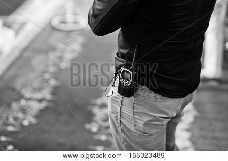 Professional Walkie-talkie Radio In Belt Of Security Man.
