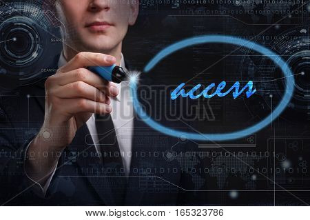 Business, Technology, Internet And Network Concept. Young Business Man Writing Word:access