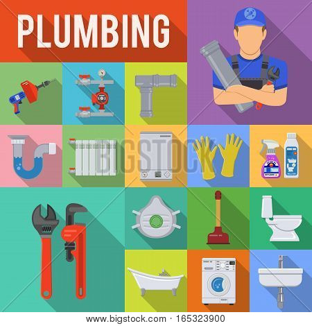 Plumbing Service Flat Icons Set with Long Shadow on Square with Plumber, Device and Tools items. Vector illustration