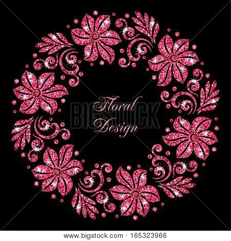 Stylized floral ornament made of red shiny confetti. Vector illustration