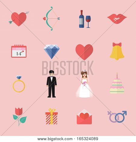Valentines Day Icon graphic Set. Vector illustration