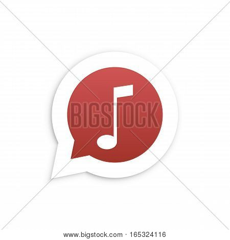 Red Music Note in speech bubble icon Vector illustration