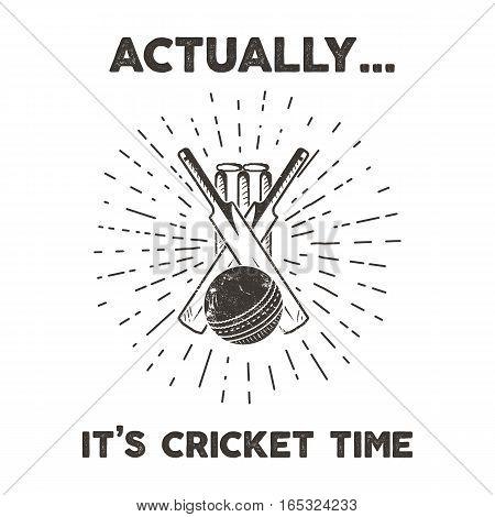 Retro cricket club emblem design. Cricketing logo icon design. Crickets badge. Sports logo symbols with cricketer gear, equipment. Retro letterpress effect
