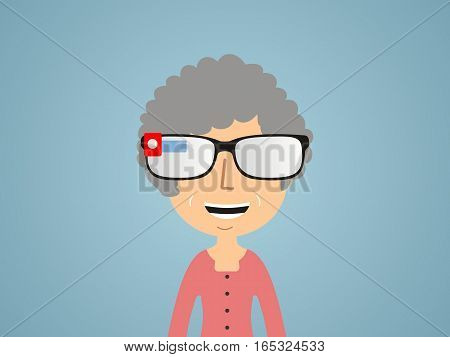 woman in smart glasses. communication concept. vector
