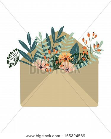 Isolated hand-drawn colored kraft envelope with flowers, vector illustration