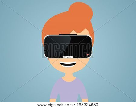girl in virtual reality glasses. vector illusrtation