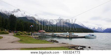 Jasper, Canada - September 9, 2016: Maligne Lake, Jasper Nationa