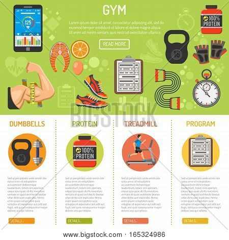 Fitness and gym infographics with flat icons biceps, protein and weight. vector illustration