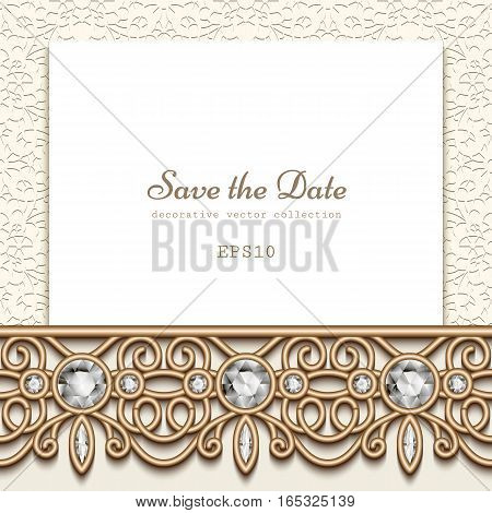 Elegant save the date card with diamond jewelry border decoration, vintage gold wedding invitation or announcement template