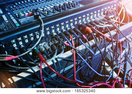 Digital Mixing Console. Sound Mixer Control Panel, Closeup Of Audio Faders.
