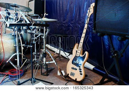 Set Of Musical Instruments. Bass Guitar And Drums