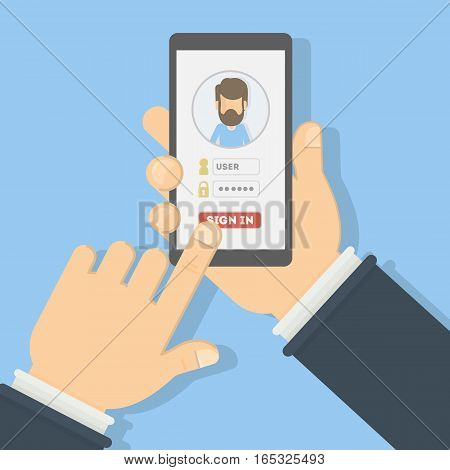 Sign in authorization. Hands hold smartphone and log in to the account. Application or website user. Man icon.