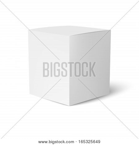 Paper or cardboard box template standing on white background. Packaging collection. Vector illustration