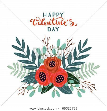 Colorful vintage bouquet of flowers on a white background, Happy Valentines Day vector illustration