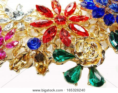 jewelry necklace with bright multicolor crystals jewellery