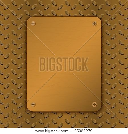 Techno vector illustration. Rusty Metal Background with plate and rivets Metallic grunge texture Brushed Brass copper latticed surface Abstract technological template. Engineering construction theme