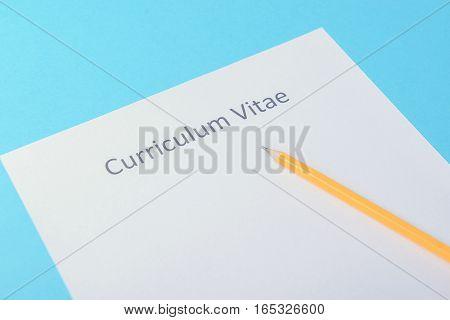 Curriculum Vitae Written On An Blank White Paper