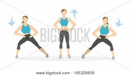 Lunges exercise for legs on white background. Healthy lifestyle. Workout for legs. Exercises for women. SIde lunges.