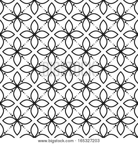 Black and white ornament seamless floral vector pattern. Monochrome geometric abstract petal repeat background.