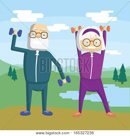 Old couple training outdoors with dumbbels. Active and healthy lifestyle for retired people.