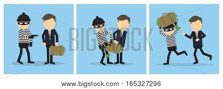 Criminal thief set. Funny cartoon thief in black mask stealing a bag. Concept of fraud, cyber crime.