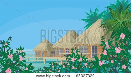 Bungalows on the ocean surrounded by tropical plants. South sea landscape. Vector background.