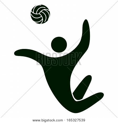 Isolated volleyball icon. Black figure of an athlet on white background. Person with ball.