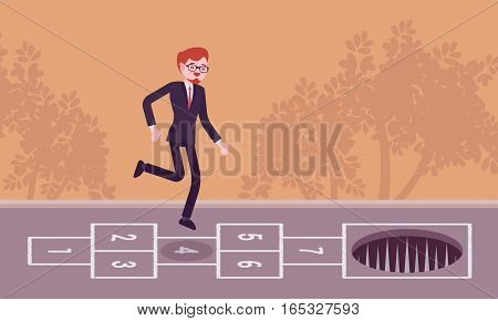 Young carefree businessman playing hopscotch, jumping unaware of danger in front of him, making fatal mistake, unable to avoid the end, loosing a game, unseen distain problem