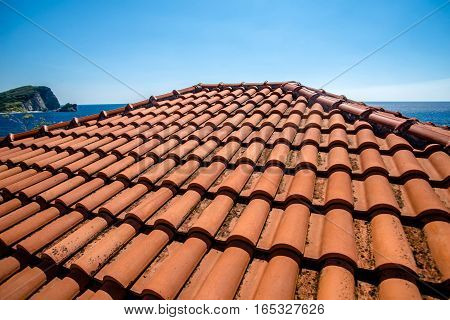 tile roof on the old house in Budva