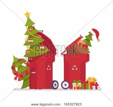Red plastic trash bins with useless christmas tress with ornament and lights, dropping off the trees for recycling, pickup service, collection days for natural christmas trees, unfestive mood