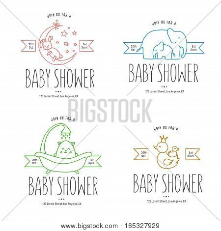Baby shower hand drawn invitations set. Cute doodle animals set. Vector vintage illustration.