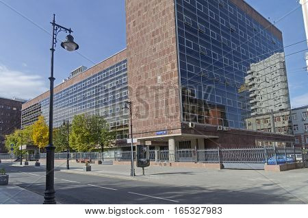 MOSCOW RUSSIA - OCTOBER 2 2016: A masterpiece of modernist architecture and a typical example of constructivism in architecture - Centrosoyuz Building in Moscow Russia. Constructed in 1933 by Le Corbusier