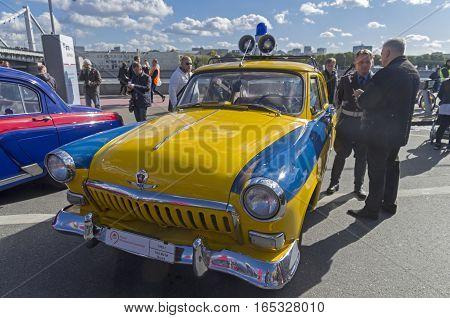 MOSCOW RUSSIA - OCTOBER 1 2016: The legendary Soviet car Volga GAZ M-21. Police car version.