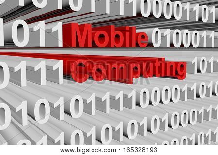 mobile computing in the form of binary code, 3D illustration