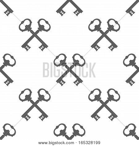 Vintage Key Silhouette Seamless Pattern Vector illustration