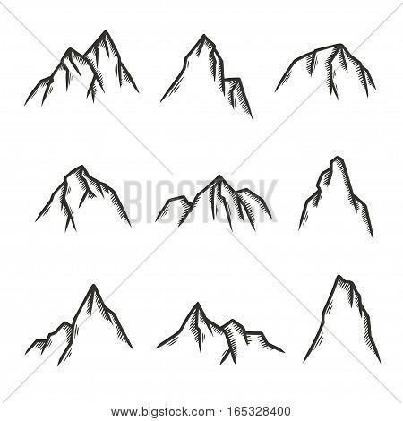 Hand drawn set of mountains. Pen graphic design elements for emblems, prints, posters. Vector vintage illustration.