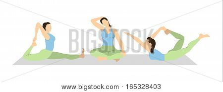 Yoga workout set on white background. Different poses and asanas. Healthy lifestyle. Body stretching. Exercises for women.