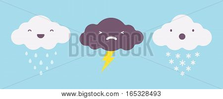 Set of rainy, snowy and lightning storm clouds, state of the atmosphere, different climate, temperature contrast, weather changing mood, untrue forecast, unpredicting character